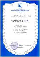Диплом 3 место в Кубке Ректора ТГУ