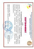 Сертификат Устиновой Вероники